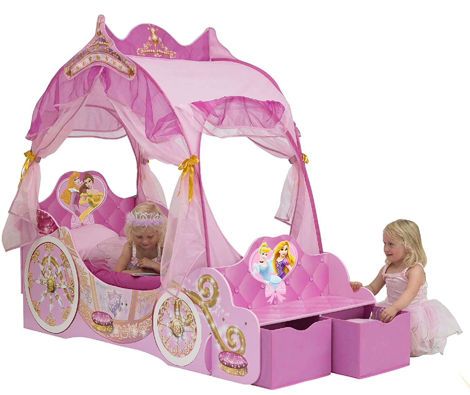 Disney Princess Toddler Carriage Bed With Storage Boxes