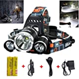 Best LED Headlamp Flashlight 10000 Lumen - IMPROVED LED with Rechargeable 18650 Battery, Bright Head Lights,Waterproof Hard Hat Light,Fishing Head Lamp,Hunting headlamp,Running or Camping headlamps … (Color: Silver, Tamaño: Compact, Portable)