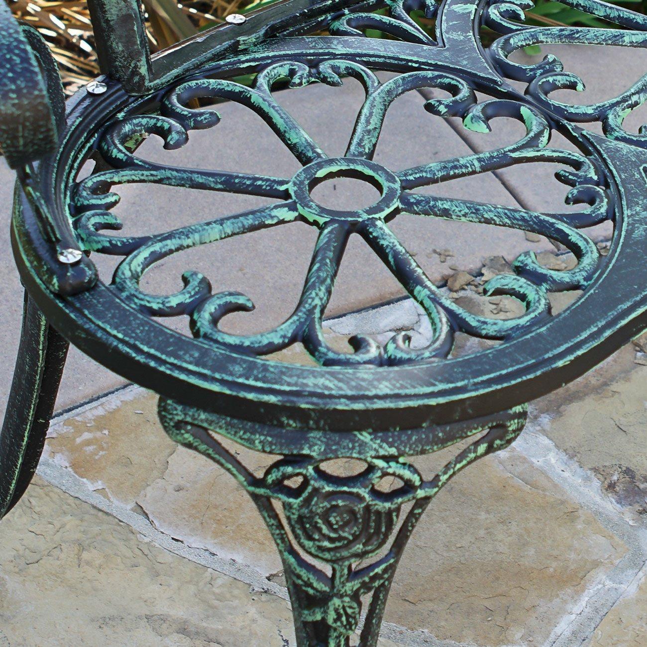 Belleze Cast Iron Antique Rose Style Design Outdoor Patio Garden Park Bench, Green 3