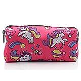 Unicorn Students Canvas Pencil Case Pen Bag Pouch Stationary Case Makeup Cosmetic Bag (Color: Pink.)