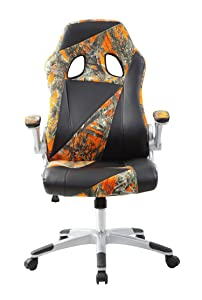 Office Chair HIGH BACK EXECUTIVE Computer PC CHAIR Camouflage Flannelette+FAUX LEATHER SWIVEL, ROCKER COMPUTER DESK FURNITURE (Orange)       Office ProductsCustomer reviews and more info