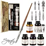 Gcquill Calligraphy Pen Set Wooden Calligraphy Pen Handcrafted Wooden Dip Pen Gift Set 5 Ink Bottle Writing Case Best Christmas Gift For Husband Or Wife (Color: Red, Tamaño: 5 Ink)