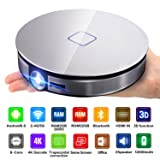 CANGSIKI D8S LED Android 6.0 Smart Projector,True 3D Home Theater Protable Video Projector Support 4K 1080P Video Play Octa-core RK3368 CPU with GooglePlay/Netflix/YouTube/Kodi/LiveTV (Color: silver, Tamaño: 17.4mmx42mm)