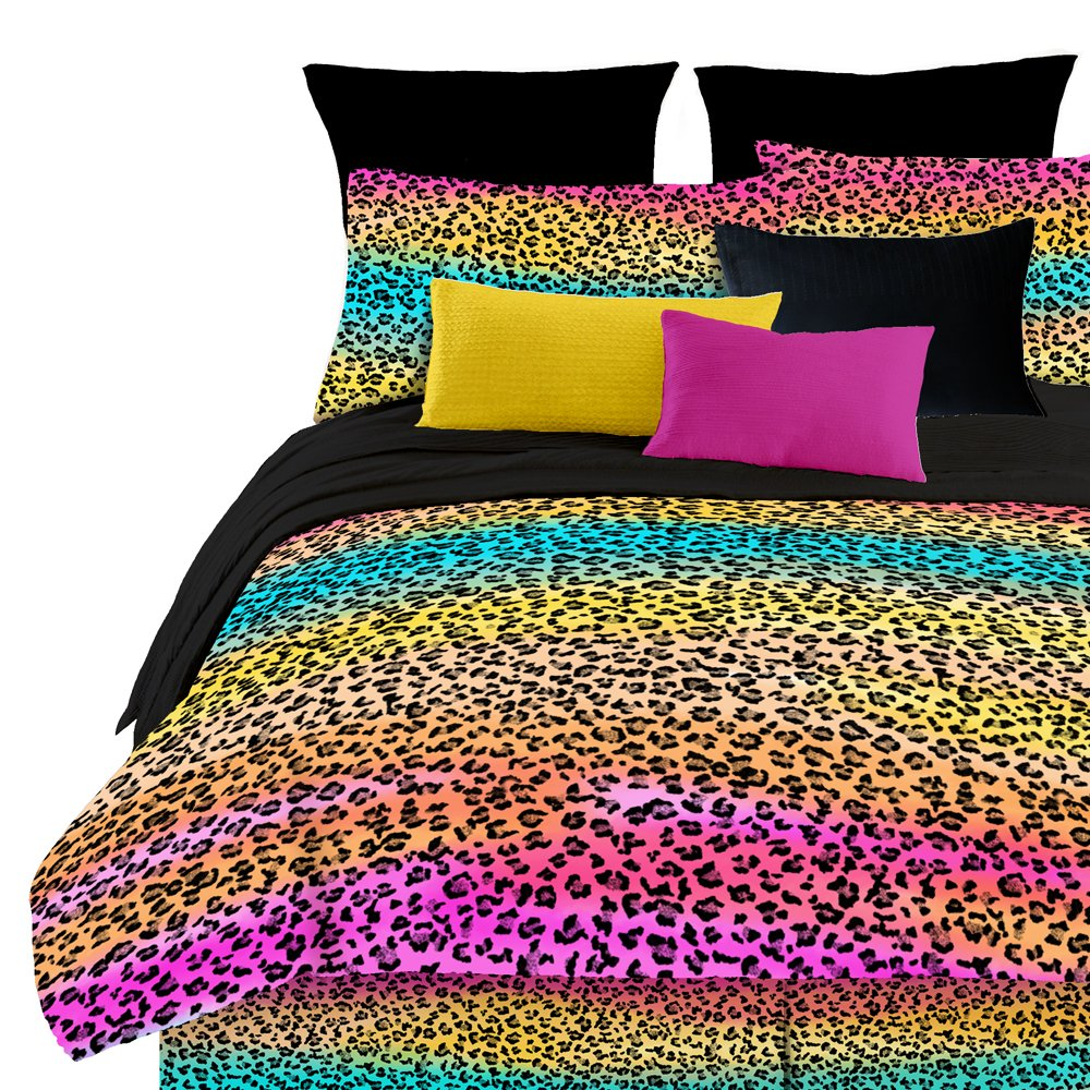 Rainbow leopard print pattern queen sheet bedding comforter set multi colors ebay - Cheetah print queen comforter set ...