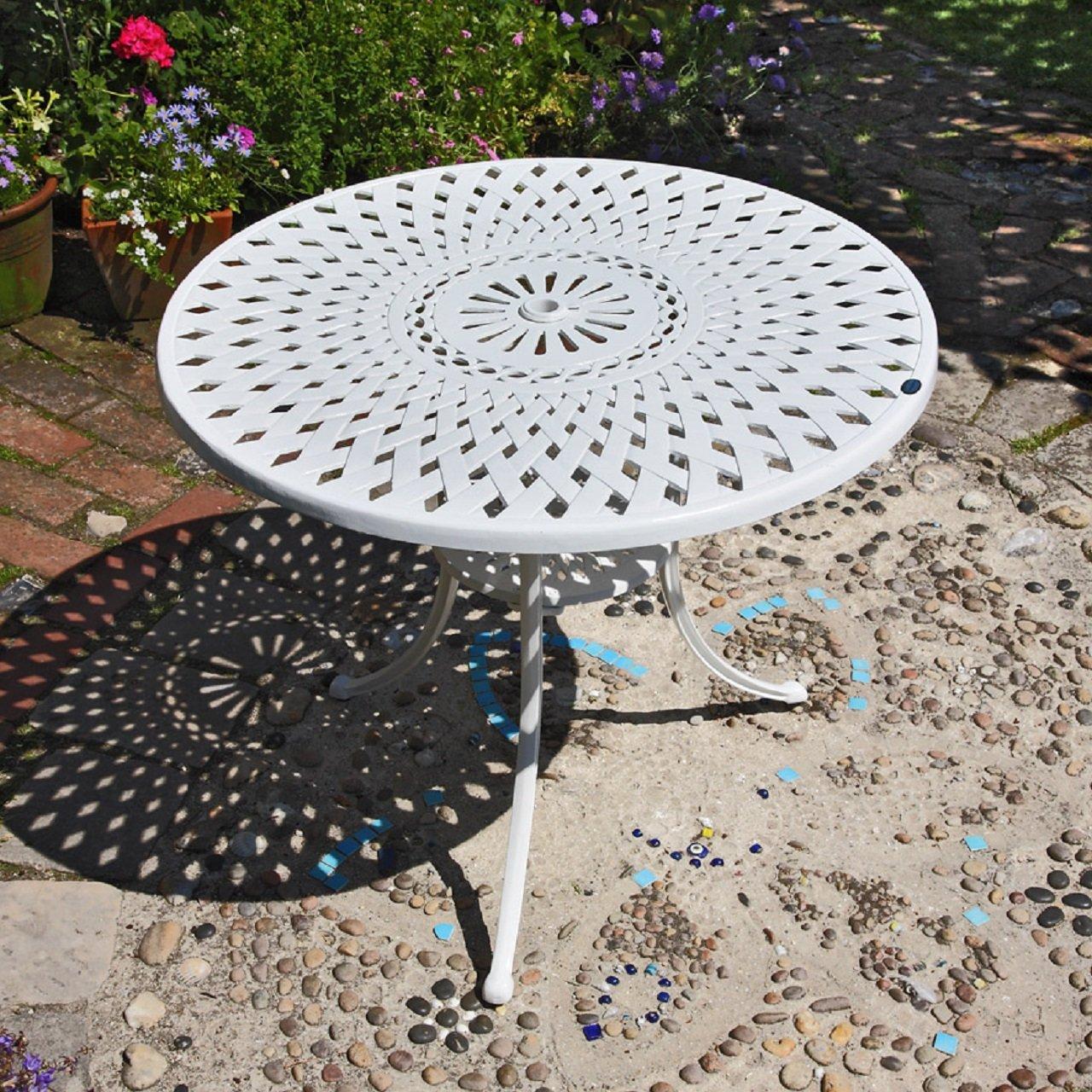 Weißes Mia 90cm rundes Gartenmöbelset Aluminium - 1Weißer MIA Tisch + 4 Weiße APRIL Stühle
