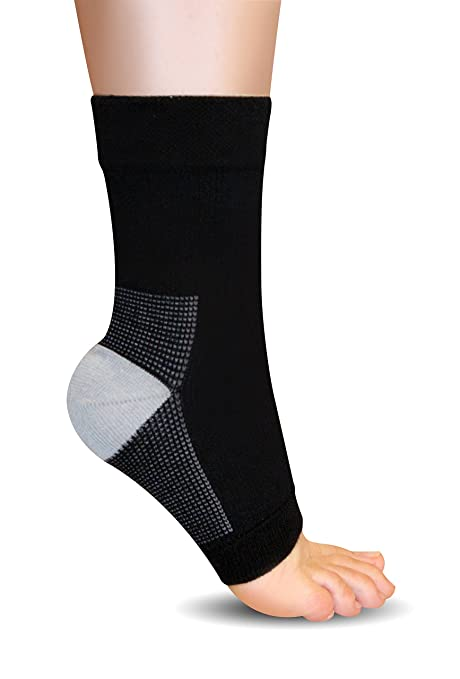 AprilTex Foot Sleeve With True Gratuated Compression ★ Buy 1 Sleeve & Get the 2nd for 50% Off ★ High Quality Ankle Support for Relief of Plantar Fasciitis, Edema & More ★ One Sleeve - Size S, Black