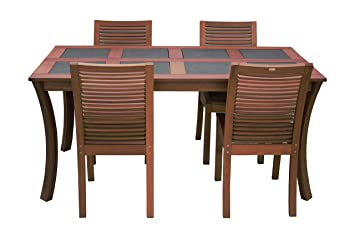 Maffei Set LUNA: wooden table LUNA with slate tiles + 4 wooden chairs LUNA. Yellow Balau wood, with MFS certificate.