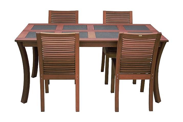 Maffei Set LUNA: tavolo LUNA + 4 sedie LUNA in legno balau massiccio grade A,con inserti di 8 pietre di ardesia