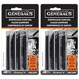 Compressed Charcoal Sticks 4/Pkg-Black - Soft Assorted (2 pack) (Color: Black)