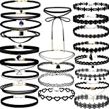 22 PCS Black Choker Necklaces Set Womens Velvet Choker Set Classic with Lace Tattoo Charm Girls Stretch Necklace (Pack of 22) (Color: Pack of 22)