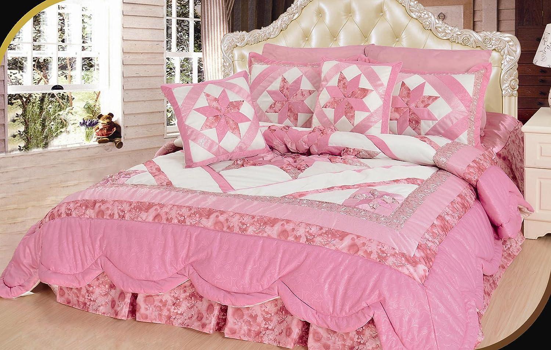 DaDa Bedding BM928L-1 New Girly Girl 5-Piece Quilt Set, Queen, Patchwork, Pink