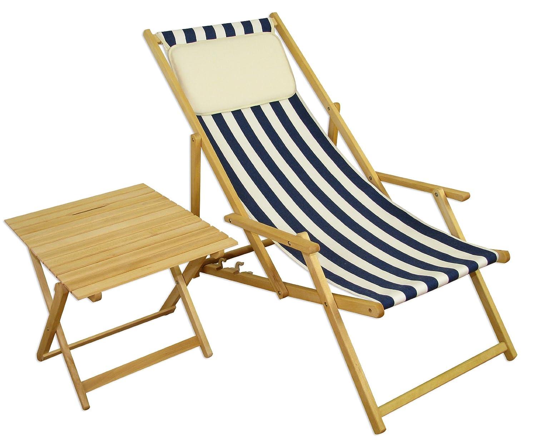 Sonnenliege Gartenliege Deckchair Saunaliege + Tisch Beige
