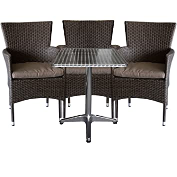 4tlg. Gartengarnitur Aluminium Bistrotisch 60x60cm klappbar + Rattansessel, stapelbar, Polyrattanbespannung, braun-meliert inkl. Sitzkissen
