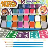 Artsy Fartsy Face Paint Kit for Kids   Professional 16 Color Mega Palette   Best Body Face Painting Kits   3 Brushes, 3 Applicators, Glitter, 50 Stencils, Durable Case   FDA Compliant Non Toxic (Color: Multicolor)
