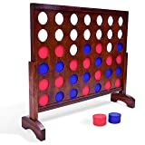 GoSports Giant Wooden 4 in a Row Game   Choose Between Classic White or Dark Stain   3 Foot Width - Jumbo 4 Connect Family Fun with Coins, Case and Rules (Color: Brown)