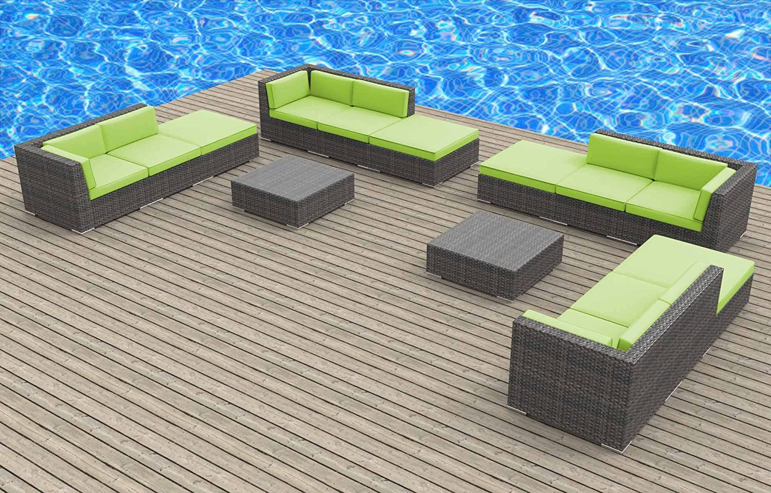 www.urbanfurnishing.net Urban Furnishing - KEY WEST 14pc Modern Outdoor Backyard Wicker Patio Furniture Sofa Sectional Couch Set - Lime Green at Sears.com