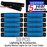 10x 6 LED Clearence Truck Bus Trailer Side Marker Indicators Light Tail Taillight Brake Stop Lamp 12V (Blue)¡
