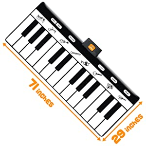 Keyboard Playmat 71 - 24 Keys Piano Play Mat - Piano Mat has Record, Playback, Demo, Play, Adjustable Vol. - Original - By Play22