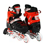 Kids Adjustable Inline Roller Blade Skates Long Feng Safe Durable Outdoor Featuring Illuminating Front Wheels Red Medium Sizes 905