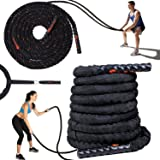 Premium Quality Battle Ropes with Anchor Strap Kit - 100% Dacron Ideal Exercise Training Rope for Men Women Total Body Workouts to Improve Cardio, Strength & Power - 40ft Heavy Duty Rope