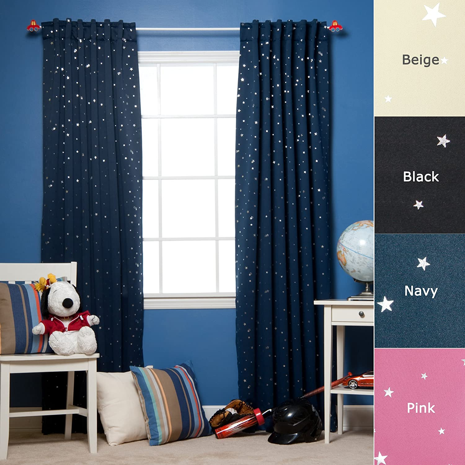 Star Print Thermal Insulated Blackout Curtain Set