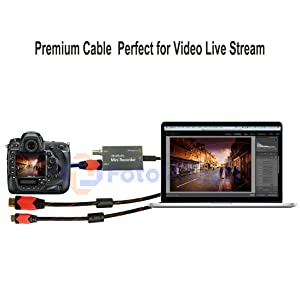 Foto&Tech 10FT Mini-HDMI-HDMI Cable Compatible with Blackmagic Design UltraStudio Mini Recorder Wirecast Live Stream&Canon 1D X Mark II/5D Mark IV III II/5DS 5DR/7D Mark II/6D 7D 80D/T7i T6s T6i T5i