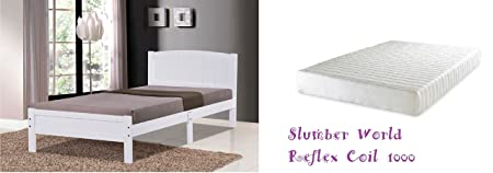 Slumber World White Bed [solid wooden base] 3ft Single (White Bed with Reflex Coil Mattress)