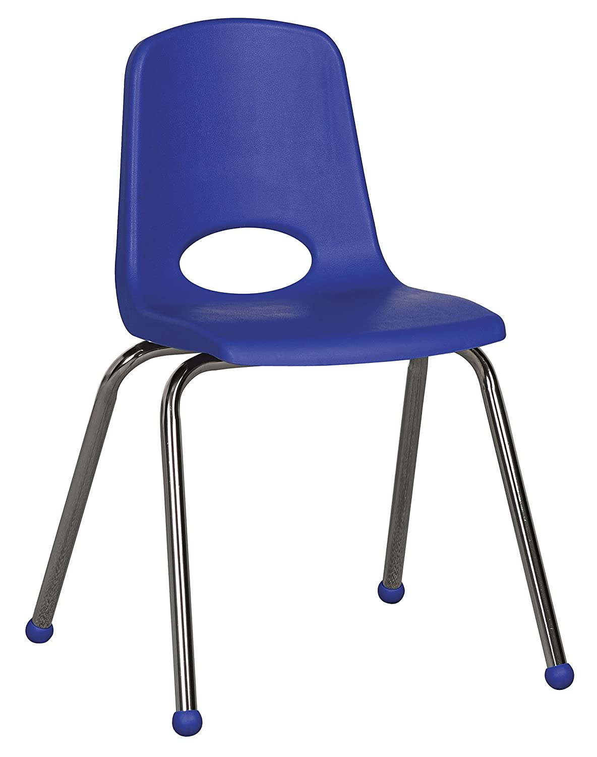 "ECR4Kids 16"" School Stack Chair, Chrome Legs with Ball Glides, Assorted (6-Pack)"