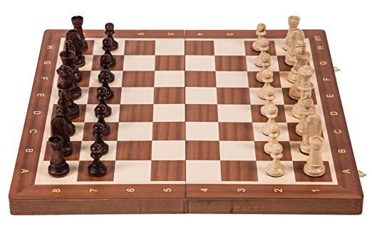 Jeu d'echecs professionnel No 6 - ACAJOU - Échiquier & Pièces d'échecs Staunton 6