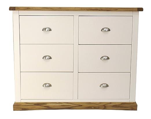 Puntas para tornillos de armario 3Plus cómoda de 3cajones con mango de cromo/falda biselado, madera, color blanco
