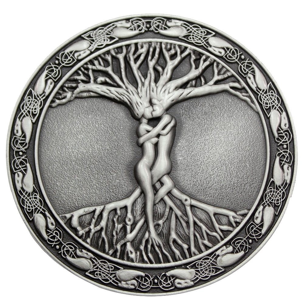 Q&Q Fashion Men Vintage Silver Celtic Tree Of Life Love Nordic Mythology Pagan Wicca Belt Buckle 0