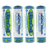 (4-Pack) Ultracell 3.2V LiFePo4 14500 AA 700mAh Rechargeable Battery for Solar Panel Light, Tooth Brush, Shaver (Tamaño: 4-Pack)