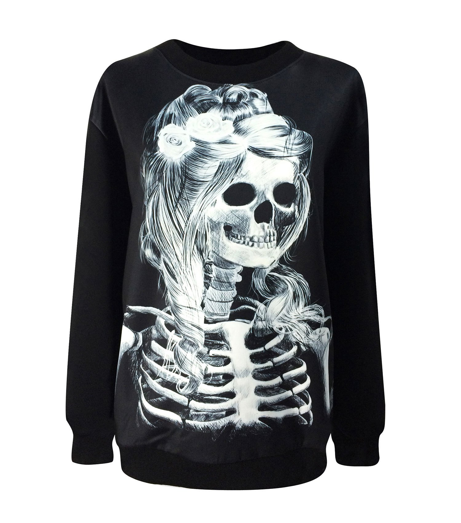 Women's Punk Rock Printing Skull Skeleton Beauty Sweatshirts