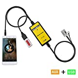 Aux Adapter,Yomikoo Car USB Mp3 Player Interface AUX in Adapter Connect 3.5mm for VW 12pin 2009-2011 Beetle 2003-2011 Jetta 2004-2011 Passat 2005-2011 Polo 2007-2011 Tiguan Skoda 2007-2011 Octavia