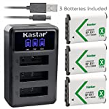 Kastar Battery x3 + Charger for Sony NP-BX1 HDR-AS200V HDR-AS30 HDR-AS300 HDR-AS50 HDR-CX240 HDR-CX405 HDR-CX440 HDR-GW66 HDR-GWP88 HDR-MV1 HDR-PJ240 HDR-PJ270 HDR-PJ405 HDR-PJ410 HDR-PJ440 DSC-HX99 (Tamaño: 1 LED3 charger + 3 batteries)
