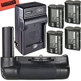 Ultra High Power Battery Grip Kit for Nikon D7500 Digital SLR Camera - Includes Qty 4 BM Premium EN-EL15 Batteries + Rapid AC/Dc Battery Charger + Vertical Battery Grip (Tamaño: Battery Grip +4 Batteries + Charger)