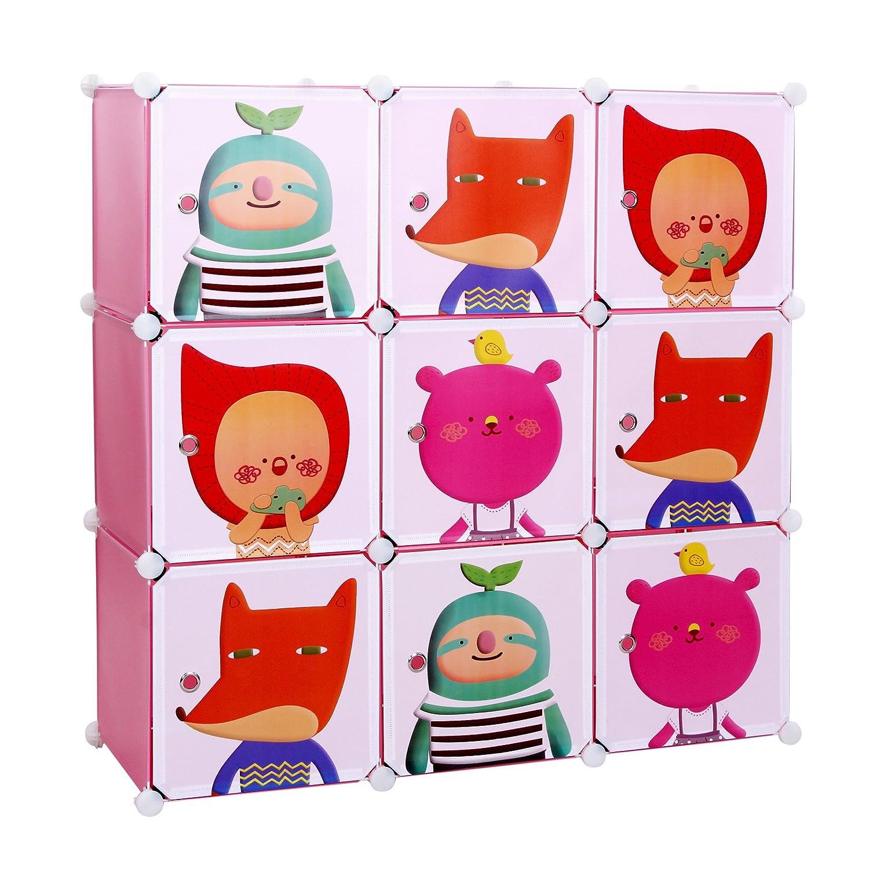 Songmics® Kinderregal Spielzeugkiste Garderobenschrank Wäscheschrank Kleiderschrank Kapazität Regalsystem 450L Pink LPC33P online bestellen