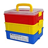 Bins & Things Stackable Toys Organizer Storage Case Compatible with LOL Surprise Dolls, LPS, Shopkins, Tsum Tsum and Lego - Portable Adjustable Box w/Carrying Handle (Color: Red Yellow Blue)
