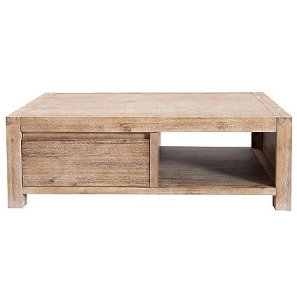 Invicta Interior - Tavolino in stile rustico Montreal, 110 cm, in legno di acacia grigio teak sbiancato, con 2 cassetti