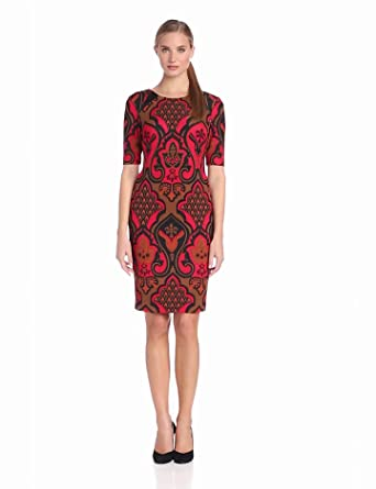 Taylor Dresses Women's Printed Ponte Dress, Red, 8 Missy