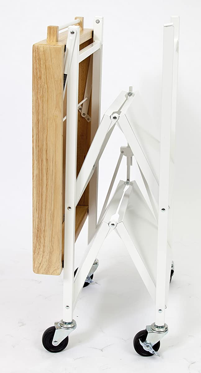 Origami RBT-04 Foldable Kitchen Island Cart, White