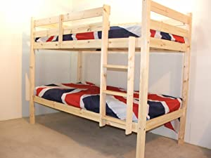 Bunk Bed   3ft single wooden bunkbed   Solid Natural pine   FAST DELIVERY       reviews and more information