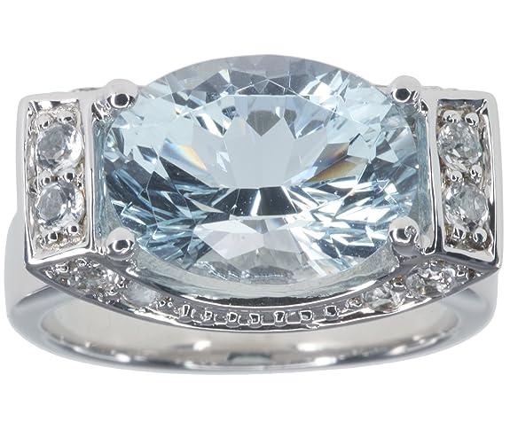 Aquamarine 2.99 carat Oval Gemstone Sterling Silver Ring size N