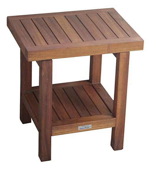 "The ORIGINAL 18"" SPA Teak Shower Bench With Shelf"