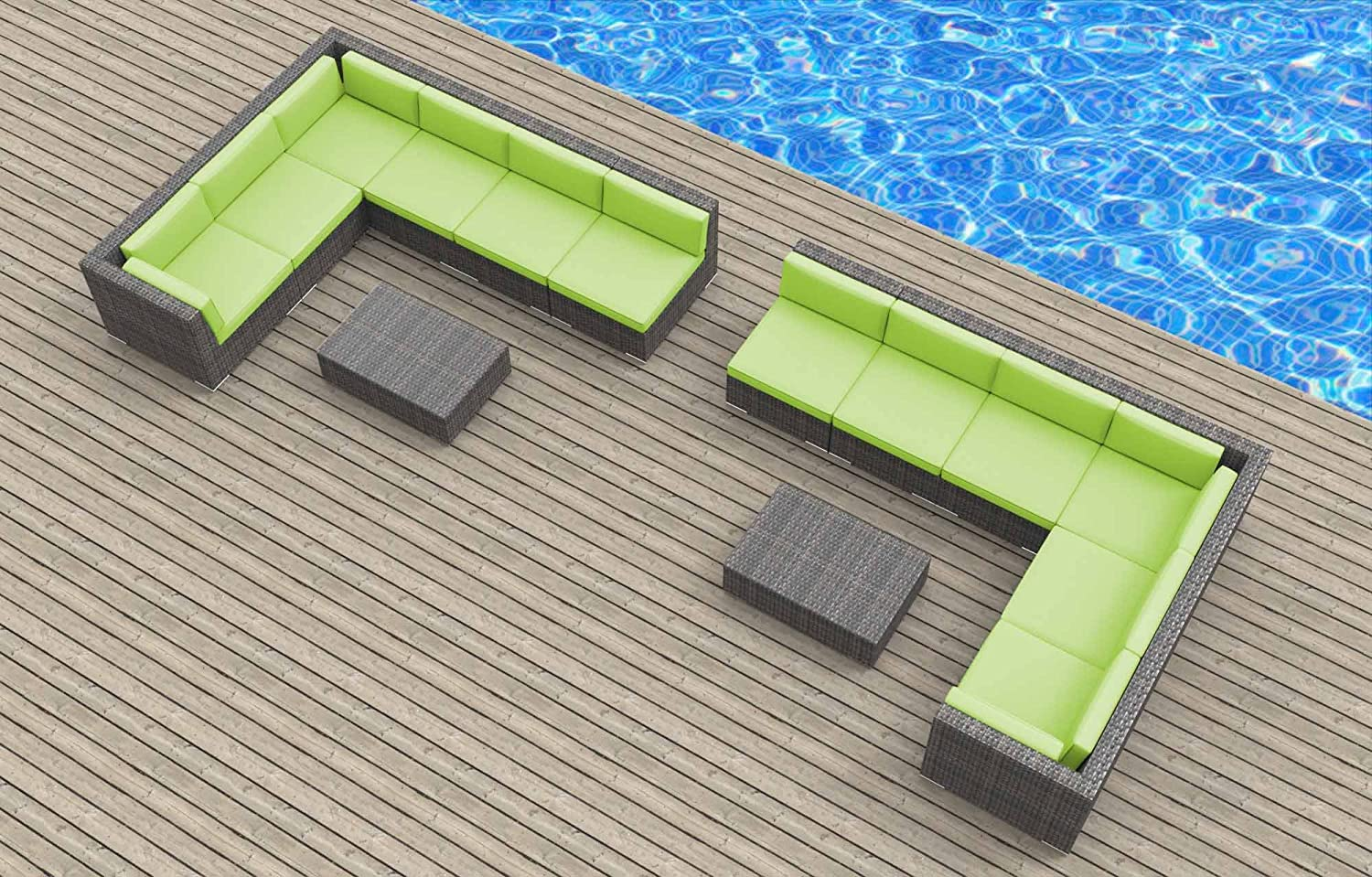 www.urbanfurnishing.net Urban Furnishing - La Jolla 14pc Modern Outdoor Backyard Wicker Rattan Patio Furniture Sofa Sectional Couch Set - Lime Green at Sears.com