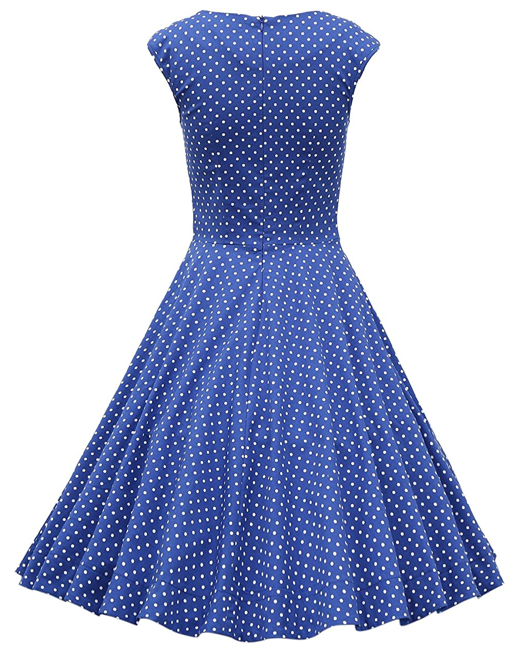 MUXXN Women's 1950s Retro Vintage Cap Sleeve Party Swing Dress 1