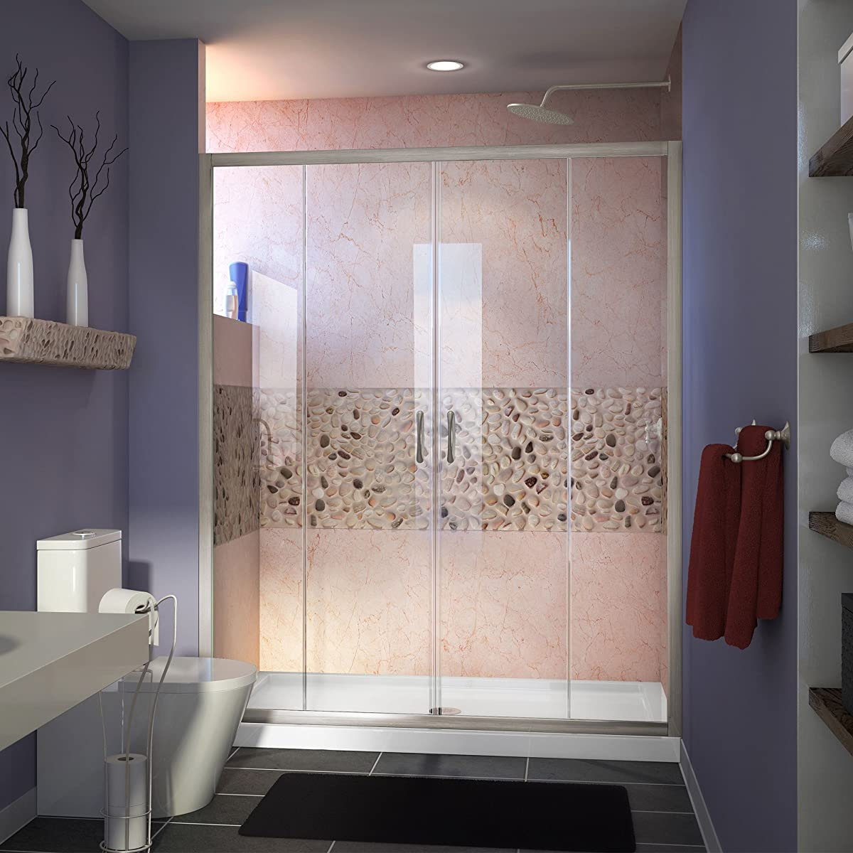 "DreamLine Visions 56-60 in. Width, Frameless Sliding Shower Door, 1/4"" Glass, Brushed Nickel Finish"