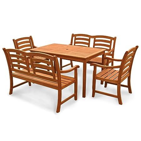 indoba® IND-70293-MOSE5GB2 - Serie Montana - Gartenmöbel Set 5-teilig aus Holz FSC zertifiziert - 2 Gartenstuhle + 2 Gartenbänke 2-Sitzer + rechteckiger Gartentisch mit Schirmöffnung