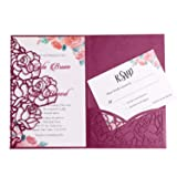 FEIYI 20 PCS 3 Folds Laser Cut Rose Shape Wedding Invitations Cards For Wedding Bridal Shower Engagement Birthday Graduation Invitation Cards (Burgundy) (Color: Burgundy)