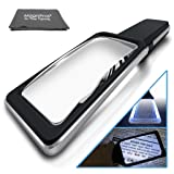 Large Rectangular 3X Magnifying Glass Reading Magnifier with 5X Bifocal Lens and [10 Dimmable LEDs-Provide Evenly Lit Viewing Area] for Reading, Low Vision, Seniors (Color: Black, Tamaño: 3X)